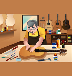 guitar maker working in his shop vector image