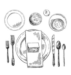 Hand drawn table setting vector