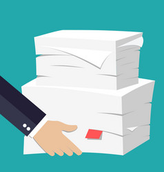 hand hold stack of papers vector image