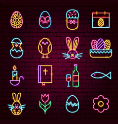 Happy easter neon icons vector