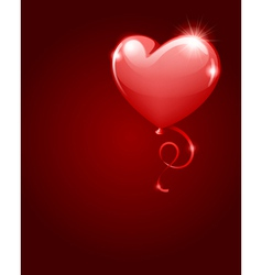 heart as balloon with ribbon vector image vector image