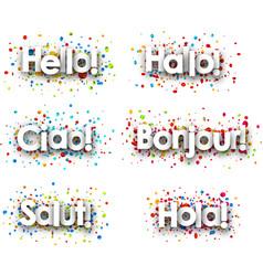 Hello card with colorful confetti vector