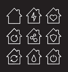 houses chalk icons set vector image