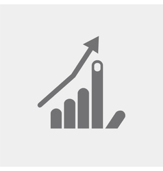 icon flat hand index finger up arrow growth vector image