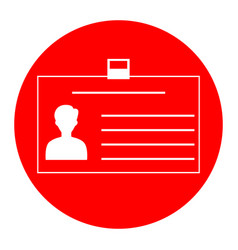 Identification card sign white icon in vector