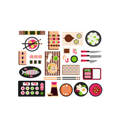 japanese food set asian cuisine dishes top view vector image
