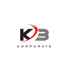 kb modern letter logo design with swoosh vector image