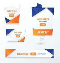 Label Ribbon Origami 2 color blue and orange vector