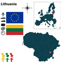 Lithuania and European Union map vector image