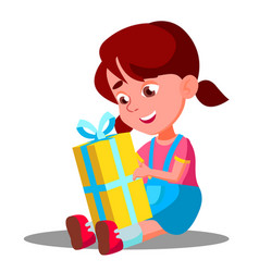 little girl opening gift christmas box vector image