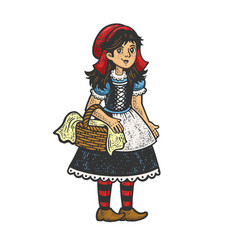 little red riding hood sketch vector image