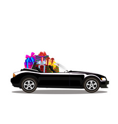 luxury black modern cartoon cabriolet car full of vector image