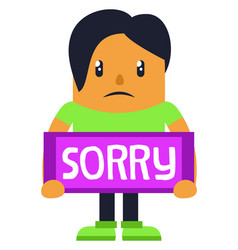 man apologising on white background vector image