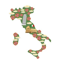 Map of Italy Traditional Italian food symbols vector image