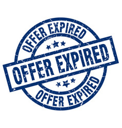 offer expired blue round grunge stamp vector image