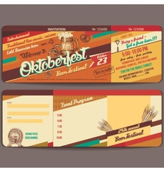 Oktoberfest vintage invitation card vector image