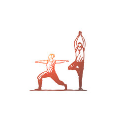 Old couple yoga fitness exercise concept hand vector