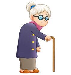 Old lady with a cane vector
