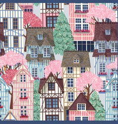 old town with trees seamless pattern vector image