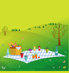 Outdoor picnic in mountains vector