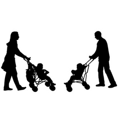 parents pushing strollers vector image