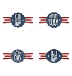 Patriot day greeting emblems set vector