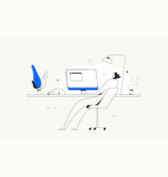 person computer desk home freelance work vector image