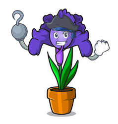 Pirate iris flower character cartoon vector