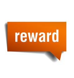 Reward orange 3d speech bubble vector