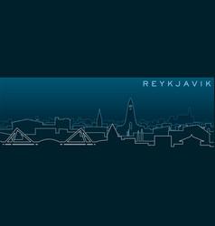 Reykjavik multiple lines skyline and landmarks vector