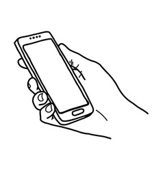 right hand holding big smartphone vector image
