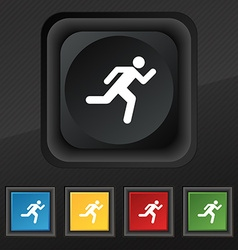 running man icon symbol Set of five colorful vector image