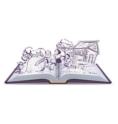 Russian fairy tale the turnip open book vector