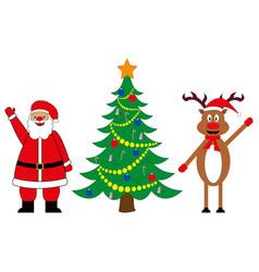 santa claus and deer at decorated christmas tree vector image