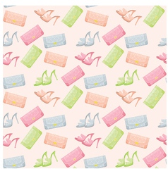 seamless bags and shoes pattern vector image