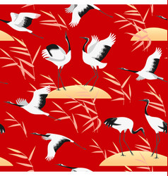 seamless pattern with birds and reed on red vector image