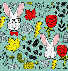 seamless pattern with rabbits in eyeglasses vector image