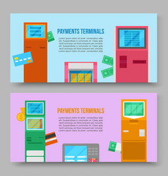 self-service payments terminals banners vector image