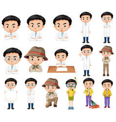 Set boy in different costumes in many actions vector