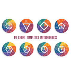 set infographics business pie charts patterns vector image