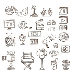 Set of hand drawn cinema doodles vector