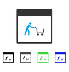Shopping cart calendar page flat icon vector