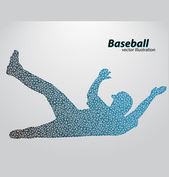 silhouette a baseball player from triangle vector image
