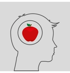 Silhouette head with tasty apple icon graphic vector