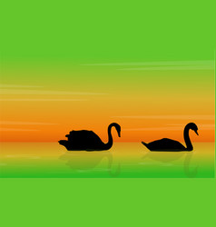 Silhouette of swan beauty landscape vector