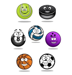 Smiling sport equipments cartoon characters vector image