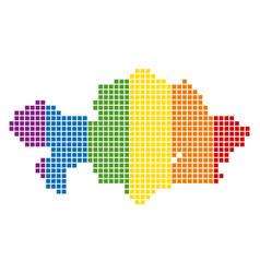 Spectrum pixel dotted kazakhstan map vector