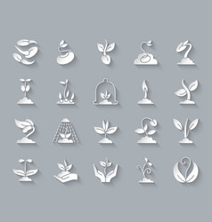 sprout simple paper cut icons set vector image