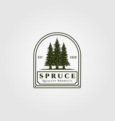 Spruce badge design vintage pine tree logo design vector
