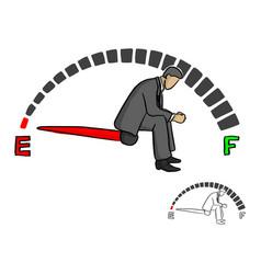 stressed businessman sitting on fuel gauge sign vector image